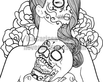 Digital Download Print Your Own Coloring Book Outline Page - Memories Sugar Skull Pin Up by Carissa Rose