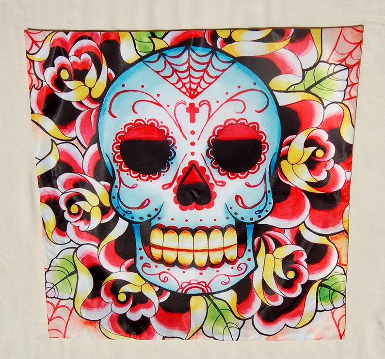 Square Pillow Case Sugar Skull Tattoo Flash By Carissa Rose