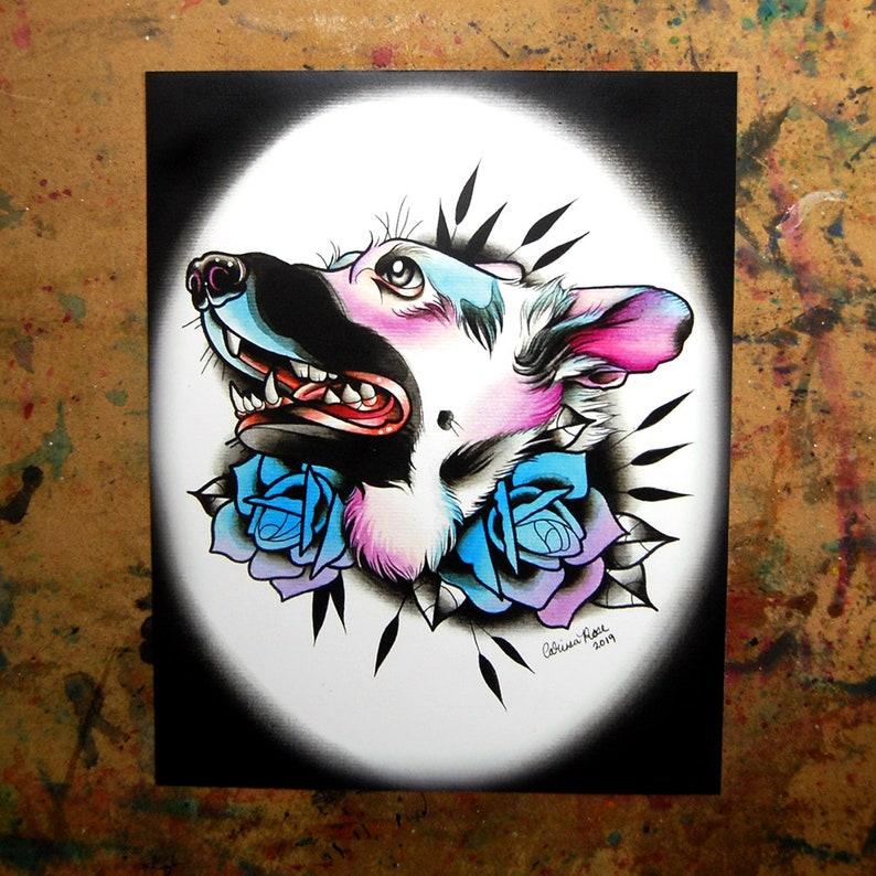 German Shepherd Dog Tattoo Flash Limited Edition Art Print | Etsy