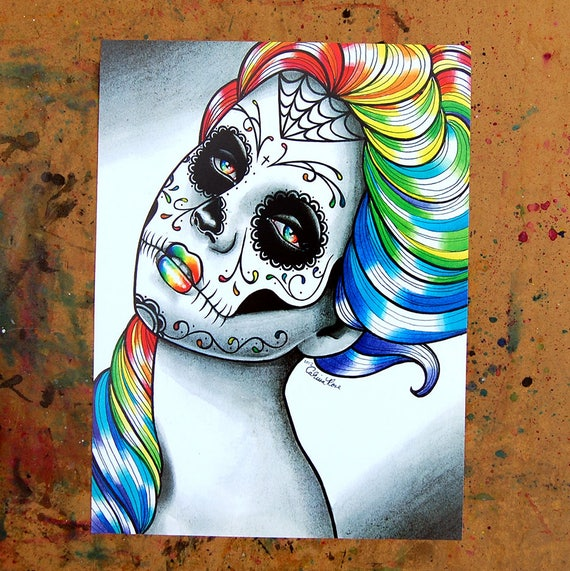 Day of the Dead Lolita Sugar Skull Candles Linen Square Cushion Cover.