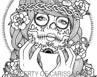 Digital Download Print Your Own Coloring Book Outline Page - Somewhere In The Between by Carissa Rose