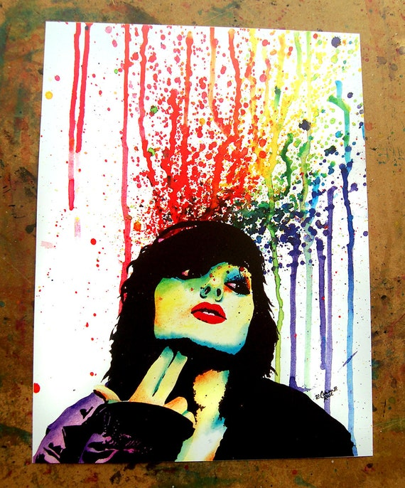 Edgy Punk Rock Rainbow Pop Art Portrait Wall Art Print | Etsy