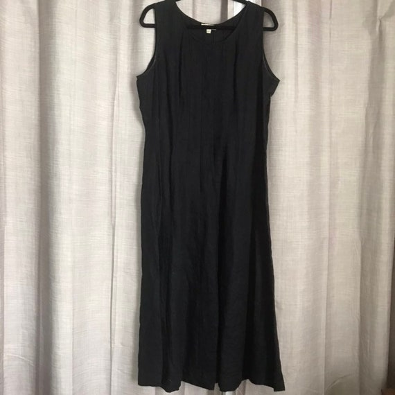 Choices Black Linen Tailored Flowing Maxi Dress M-