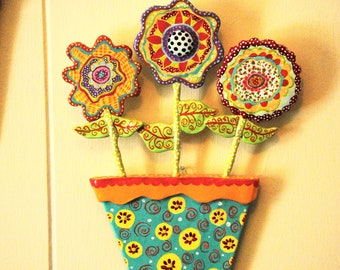 Whimsical Folk Art Flower Pot Wall Art Sculpture