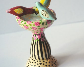 Handmade Colorful Birds Perched on a Birdbath, Figurine, Roses, polka dots and Stripes