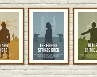 Star Wars Original Trilogy Minimalist Posters, Star Wars Wall art Printable, Start Wars Poster, Nursery Decor, Instant Download