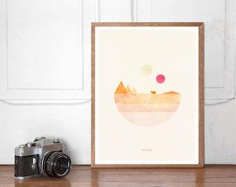 Tatooine, Star Wars Wall art Printable, Start Wars Poster, Nursery Decor, Superhero Bedroom, Instant Download