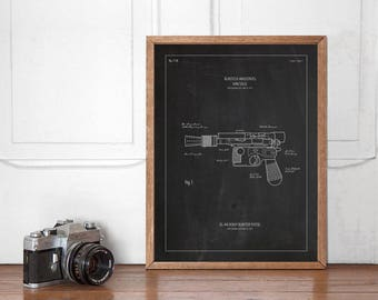 Han Solo's Blaster Patent Poster, Star Wars Wall art Printable, Start Wars Poster, Nursery Decor, Superhero Bedroom, Instant Download