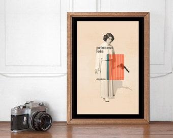 Princess Leia Mid Century Poster, Star Wars Wall art Printable, Start Wars Poster, Nursery Decor, Superhero Bedroom, Instant Download