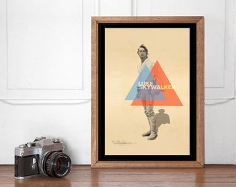 Luke Skywalker Mid Century Poster, Star Wars Wall art Printable, Start Wars Poster, Nursery Decor, Superhero Bedroom, Instant Download