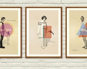 Star Wars Original Trilogy Mid Century Modern Posters, Star Wars Wall art Printable, Start Wars Poster, Nursery Decor, Instant Download