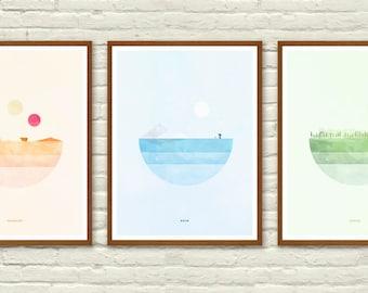 Star Wars Planet Minimalist Posters, Tatooine, Hoth, Endor, Star Wars Wall art Printable, Start Wars Poster, Nursery Decor, Instant Download