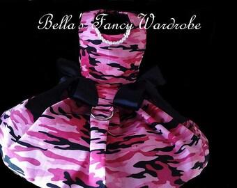 Pink Camouflage Dog Dress,  Pink dog dress, dog dress, dog clothes, dog apparel,