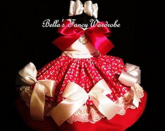 Dark Pink & White Dog Dress, Anchor Dog Dress, Pink Dog Dress, Dog Clothes, Fancy Dog Dress
