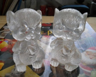Vintage Clear Plastic Mouse Salt and Pepper Shakers