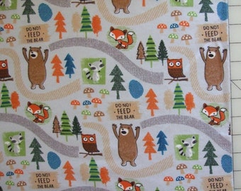 4 Yards Total Whole Cloth Quilt Kit Campsite Critters Camping Foxes Flannel