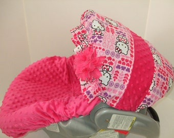 Cutie Hello Kitty Print Ruffled Canopy With Hot Pink Minky Dimple Dots Infant Car Seat Carrier Slip Cover Set