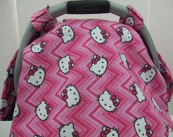 Adorable Reversible Hello Kitty Chevron And Hot Pink Bows Dots Print Cotton Reverse Side Infant Car Seat Carrier Tent Canopy Blanket Cover