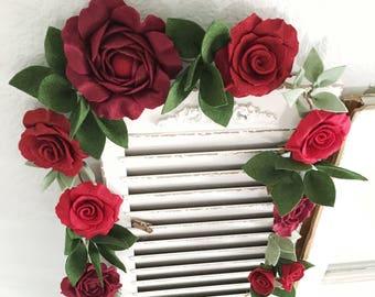 Flower Garland with Handmade Felt Flowers
