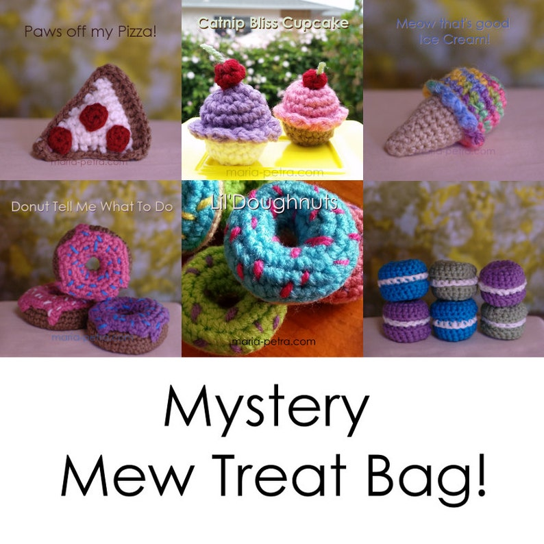Mystery Mew Treat Bag  Cat Toy  Crochet  Gifts for image 0