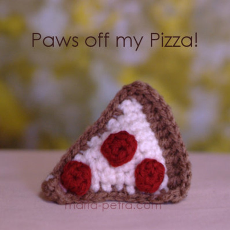Mini Crochet Pizza Slice Cat Toy  Cat Toy  Crochet image 0