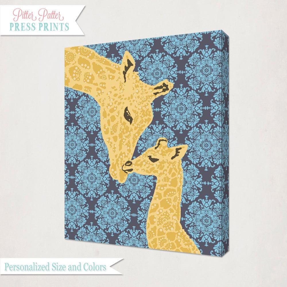 Blue Yellow Grey Giraffe Nursery Wall Art Canvas // Girl\'s | Etsy