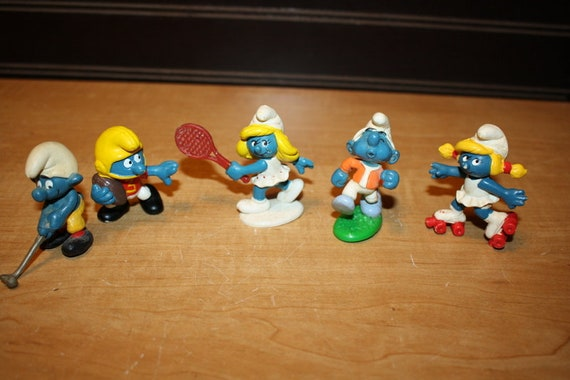 Vintage Smurf Toys Smurf Figurines Set Of 5 Item 3107 4 Etsy