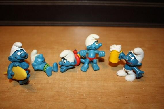 Vintage Smurf Toys Smurf Figurines Set Of 5 Item 3107 5 Etsy