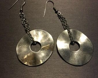 Long silver disc earrings