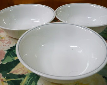 3 -Vintage  Corelle - Blue Grey Ring - Soup / Salad Bowls - Pattern Unknown - 6 x 1-1/2 Deep Approx.