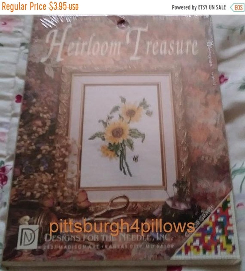 18 Ct Counted Cross Stitc 5234 Heirloom Treasure Complete Kit Designs for the Needle storewide New Listing Sunflower - 5 x 7
