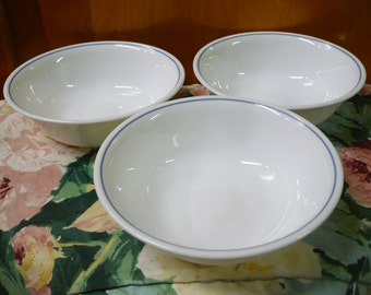 3 Vintage Corelle - Med. Blue Ring - Pattern Unknown - Soup/ Salad Bowls - 6 x 1- 1/2 Deep Approx.