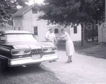 Classic Car 1940s Chrysler Royal Photograph Man with Cigar in Driveway Whitewall Tires