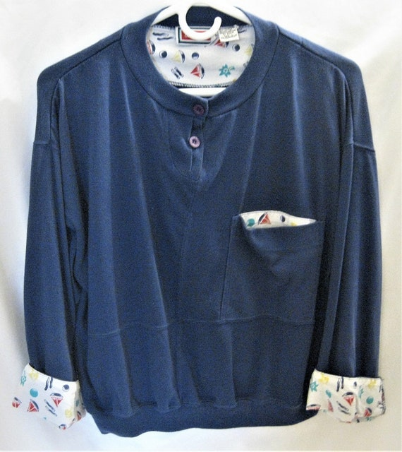 27515432196 Knit Top 3 4 Sleeve Navy Blue Misses  Size Large