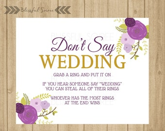 picture relating to Put a Ring on It Bridal Shower Game Free Printable named Dont Say Wedding day Ring Recreation Bridal Shower Sport Etsy