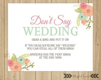 dont say wedding ring game bridal shower game wedding shower game coral and mint vintage floral shower printables brs02