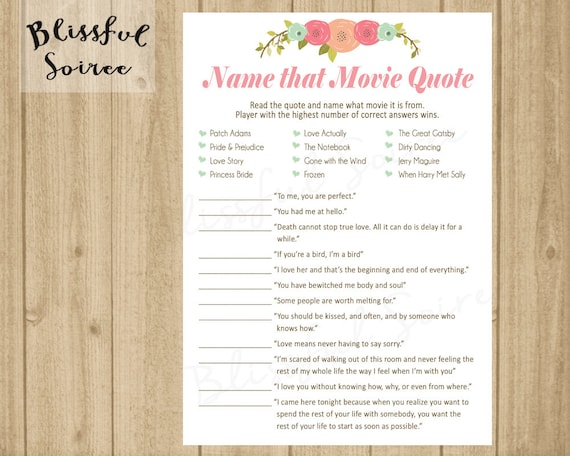 Bridal Shower Game Name That Movie Love Quote Romantic Etsy