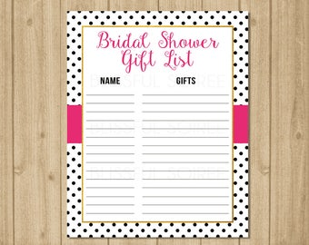 Gift List | Guest List Printable | Gift Tracker | Gift Checklist | Bridal Shower Gift List | Spade Inspired | Gift Lists | BRS08