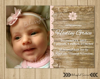 Photo Birth Announcement | Wood Announcement | Baby Announcement |Welcome Baby | Baby Birth Announcement