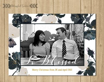 Black and White Christmas Card | Holiday Photo Card | Christmas Photo Card | So Blessed | Holiday Card | Gold |