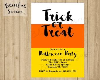 Halloween Party Invitation   Trick or Treat   Halloween Invitation   Candy Corn    Printable   Halloween Bash   Black Orange   H01