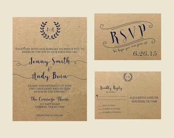 Rustic Wedding Suite | Kraft Wedding Invitation | Wedding Invitation Suite | DIY Printable File | Kraft | Navy