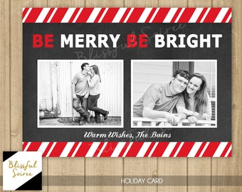 Custom Photo Christmas Card | Candy Cane Stripes | Chalkboard Christmas Card | Holiday Card | DIY Printable |Be Merry Be Bright