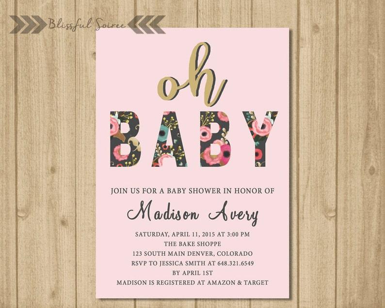 BABY GIRL Baby Shower Invitation  Oh Baby Invite  Shabby image 0