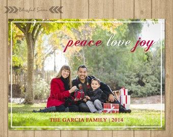 Peace Love Joy | Photo Christmas Card | Holiday Photo Card | Digital Christmas Card | Red White | Religious Christmas Card