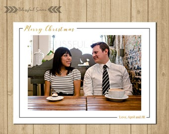 Simple Black and White Christmas Card | Holiday Photo Card | Christmas Photo Card | Merry Christmas | Holiday Card | Gold