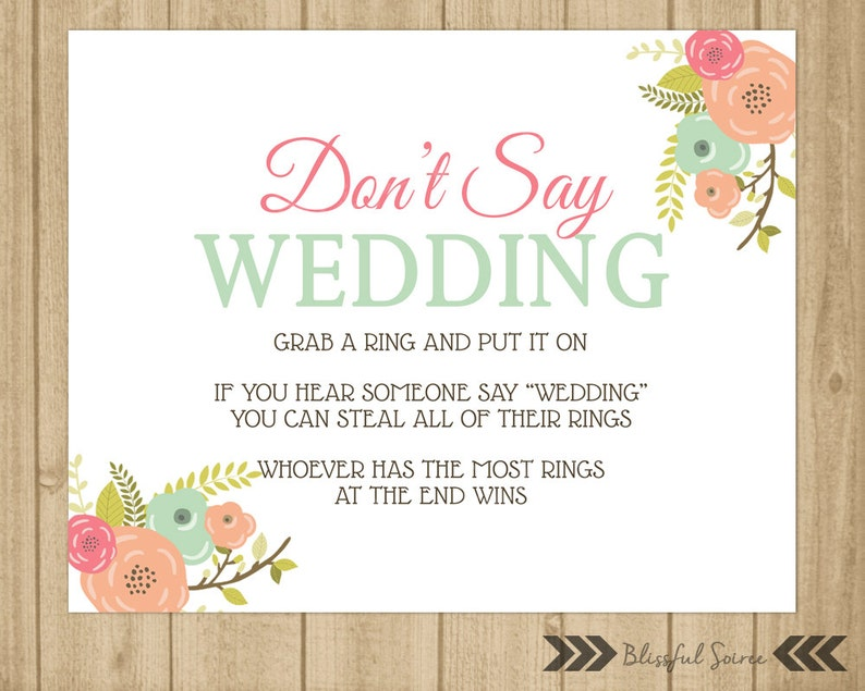 image relating to Put a Ring on It Bridal Shower Game Free Printable named Dont Say Marriage Ring Video game Bridal Shower Activity Marriage ceremony Shower Sport  Coral and Mint Basic Floral Shower Printables BRS02