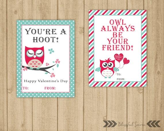 Kids Valentine Cards Owl Valentine Diy Printable Etsy