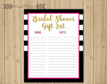 Gift List | Guest List Printable | Gift Tracker | Gift Checklist | Bridal Shower Gift List | Spade Inspired | Gift Lists | BRS15