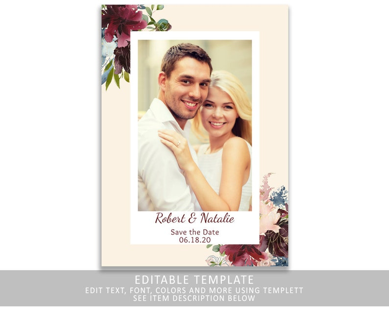 Marsala Floral Save The Date  Burgundy Save The Date  image 0
